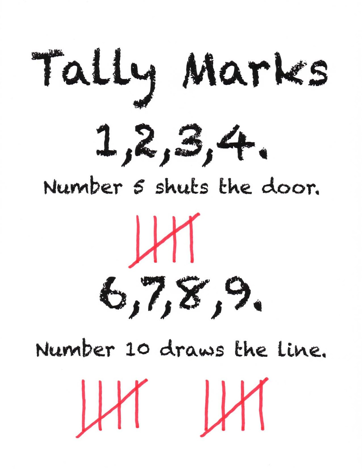 Simple Rhyme To Help Students Remember How To Make Tally