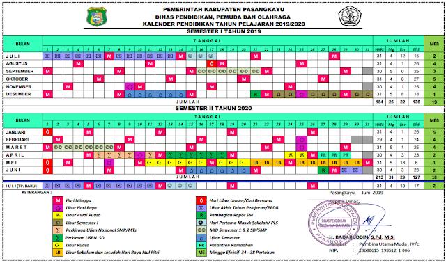 K13 : Kalender Pendidikan Kab. Pasangkayu Tahun Pelajaran 2019-2020