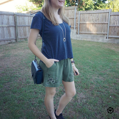 awayfromtheblue instagram navy cropped tee with olive soft shorts deep teal rebecca minkoff love too bag