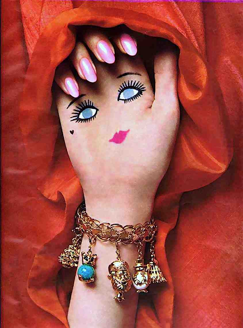 from a 1967 fashion magazine, a psychedelic smiling hand
