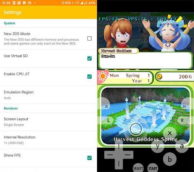 tampilan Citra 3ds emulator di Android