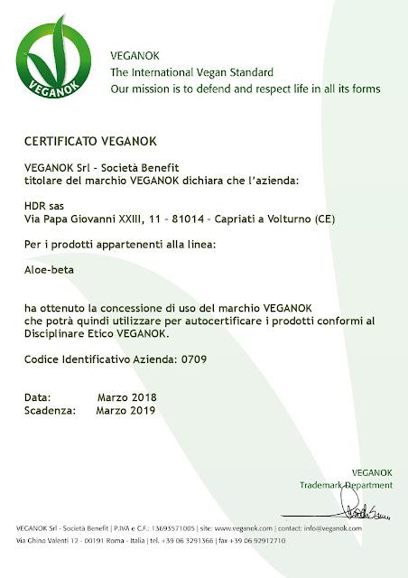 Certificato Veganok