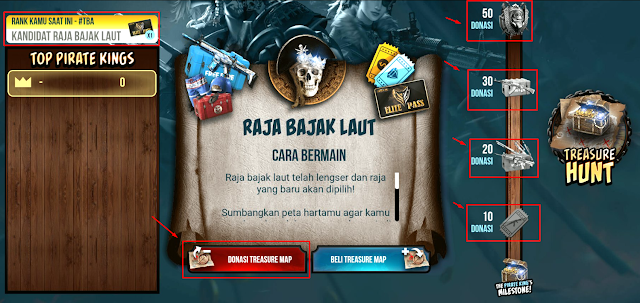 Cara Mendapatkan Elite Pass gratis Ghost Pirate dan Bug Web Event Treasure Pirate King