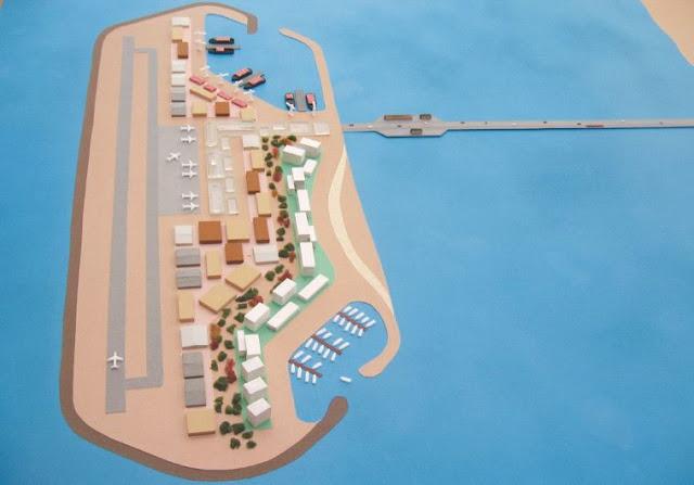 Un modelo del proyecto de isla artificial puerto que pueden ser construidas desde la costa de Gaza. (Crédito de la imagen:Transporte Ministerio)