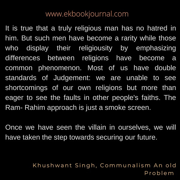 Khushwant Singh Quotes | The end of India |Communalism: An old Problem