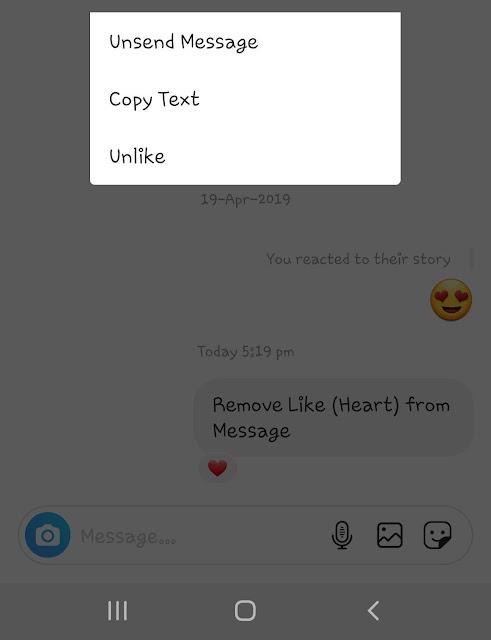 Unsend Instagram message