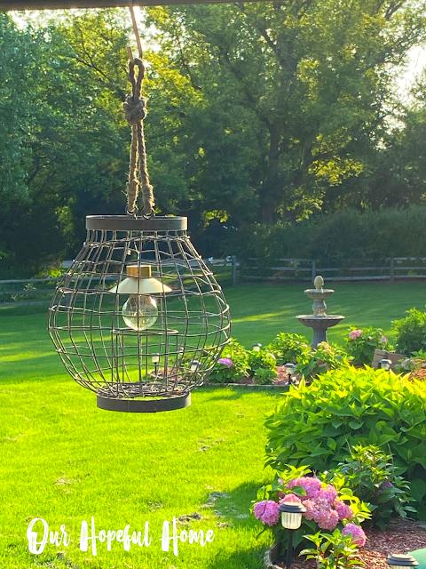 hanging wire lantern patio yard
