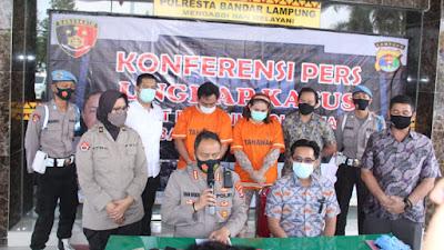 Polresta Bandar Lampung Berhasil Tangkap Suami Istri Kasus Penggelapan Mobil