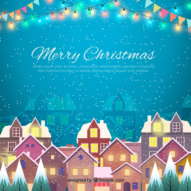 Merry christmas background with snowy city Free Vector
