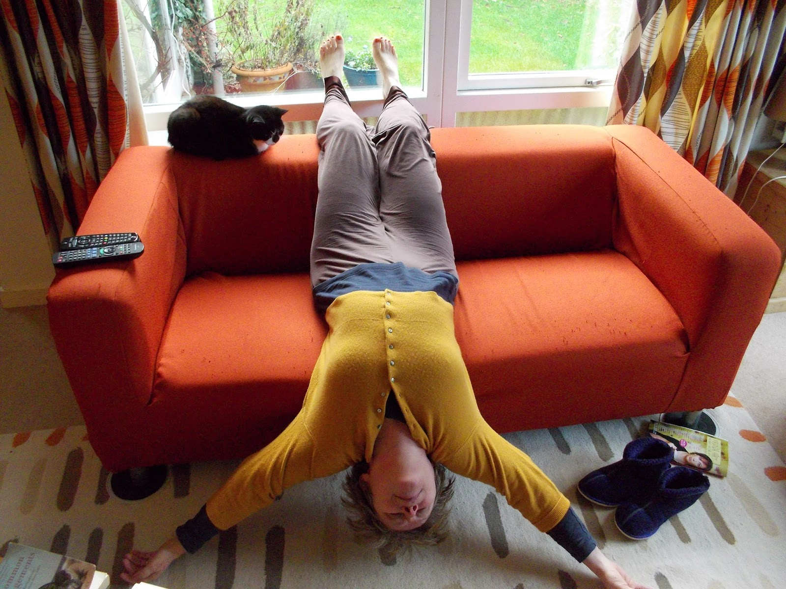 yoga sofa brown covers be a couch potato with your slippers on bit like shoulderstand in some ways