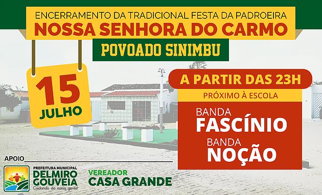 Banda Fascínio e Noção fazem o encerramento da tradicional festa do povoado Sinimbu neste final de semana em Delmiro Gouveia