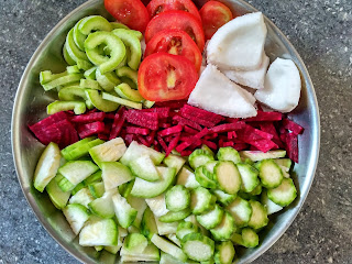 Sun cooked breakfast - Ridge gourd, Beetroot,  Snake gourd, Tomato, Coconut