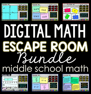 Digital Math Escape Room Bundle for Middle School