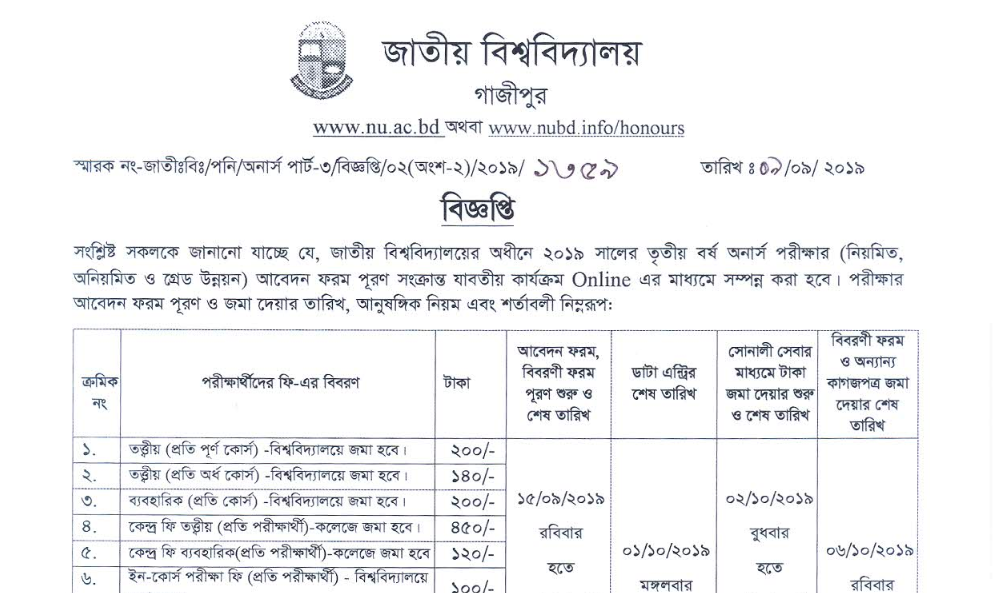 Hons 3rd year 2019 Form Fillup Date