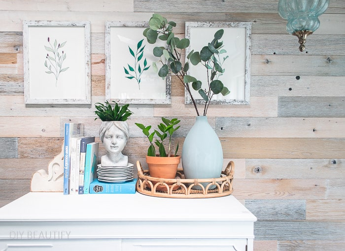 wood wall, cottage dresser and plants