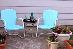paint aqua metal chairs, paint outdoor metal chairs turquoise