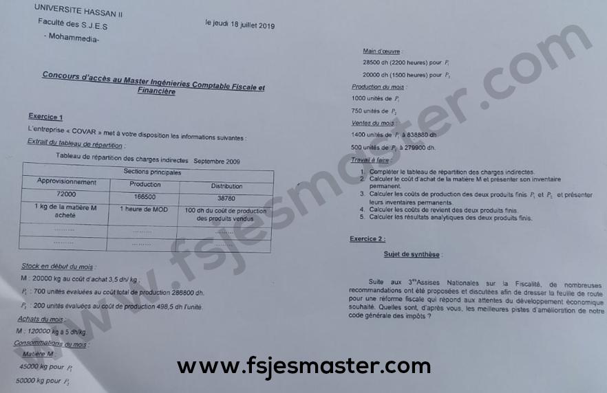 Exemple Concours Master Ingénierie Comptable Fiscale et Financière (ICFF) 2019-2020 - Fsjes Mohammedia