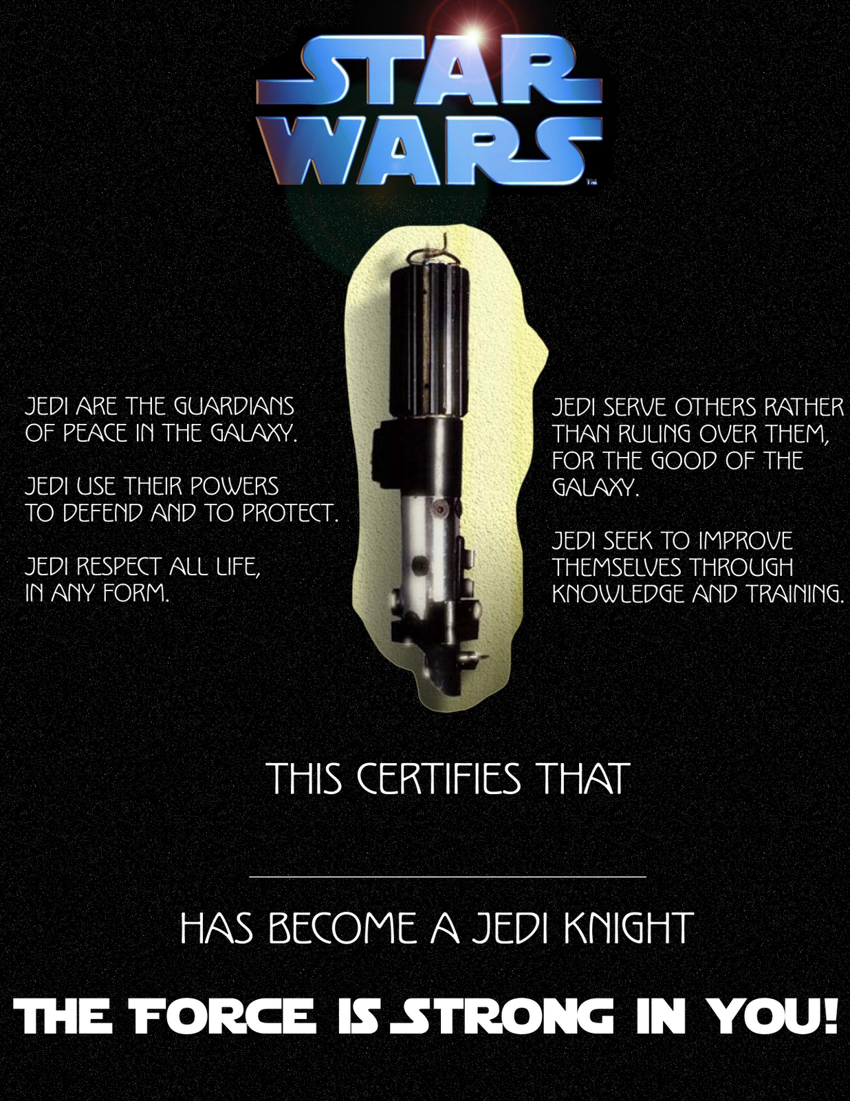 Jedi training certificate template picture to pin on for Star wars jedi certificate template free