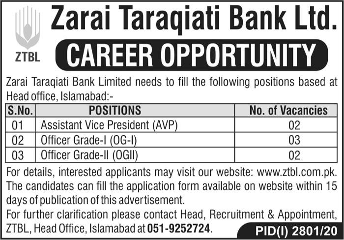 Zarai Taraqiati Bank Limited ZTBL Jobs 2020 For Officers Grade-I & Grade-II and AVP