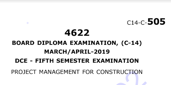 Sbtet Project Management For Construction old Question Paper c14 March/April-2019
