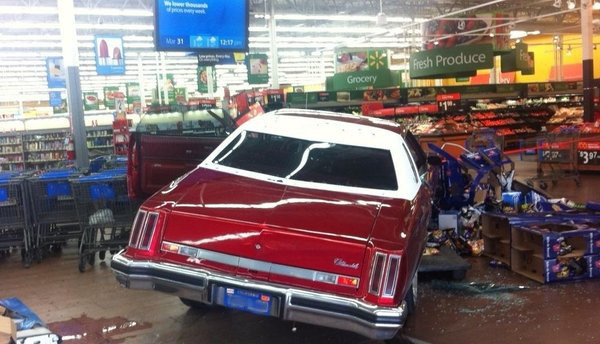 Retail Store Safety   Crash Prevention  Car Gets 20 Feet Inside     Car Gets 20 Feet Inside Walmart Store