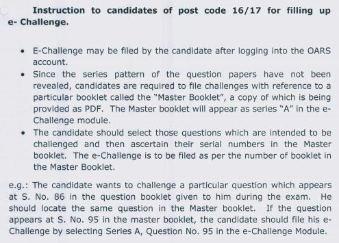 image : DSSSB Instructions for PRT Answer Key Challenge Post Code 16/17 @ TeachMatters
