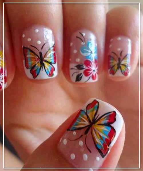 Butterfly Prints Nail Art Design