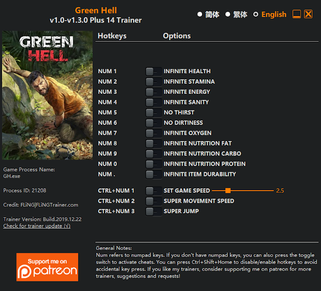 Tampilan Trainer Green Hell PC