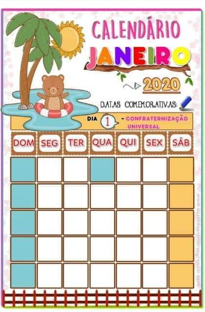 Professora Tati Simoes Calendario Tematico Datas Comemorativas 2020 Gratis