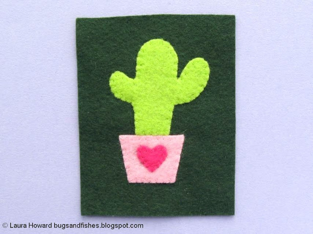 Felt Cactus Brooch Tutorial: sew the felt pieces in position