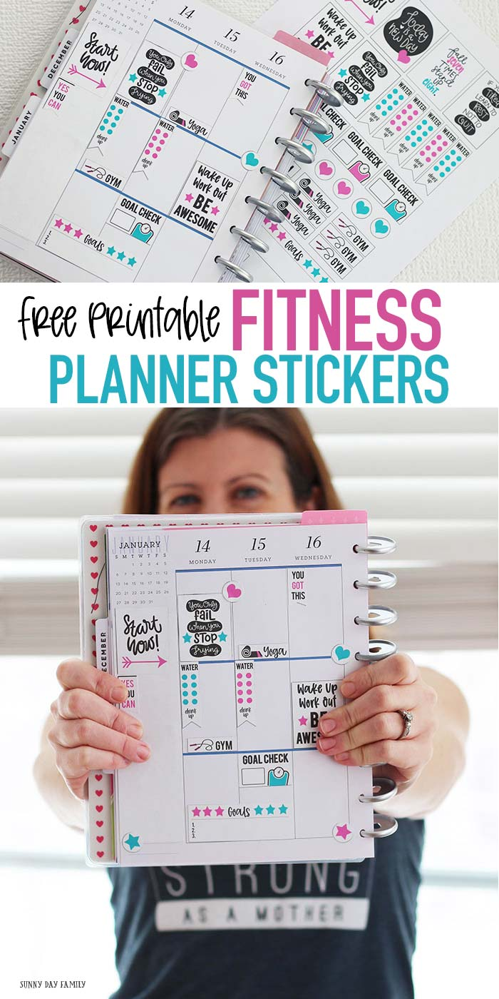 FREE printable fitness planner stickers to fit Happy Planner and more! These fitness planner stickers are perfect to track workouts, fitness goals, and more. LOVE these for staying motivated! #ad #FitAtPlanetFitness #PlanetFitness #plannerstickers #planner #plannerlove