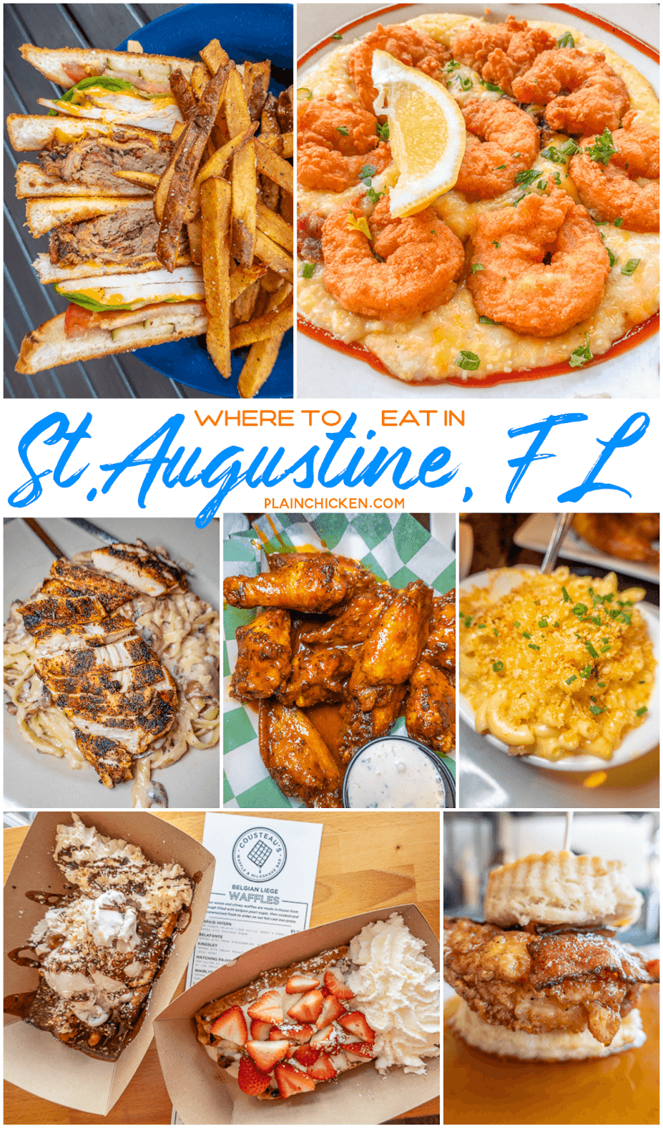 collage of food photos from St. Augustine restaurants