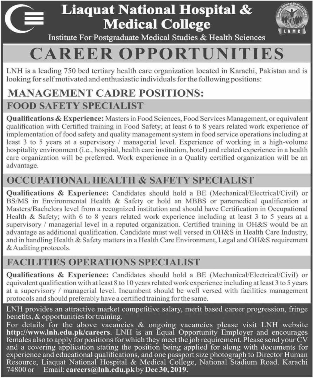 Liaquat National Hospital & Medical College Karachi Jobs 2019 Latest