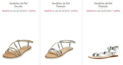 Sandalias de piel dorado y plateado