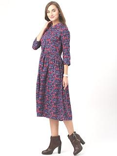 Marie Claire Women Blue Floral Print Fit & Flare Dress