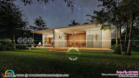 Night view of the modern out house design