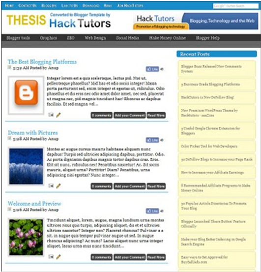 Free Thesis Blogger Template