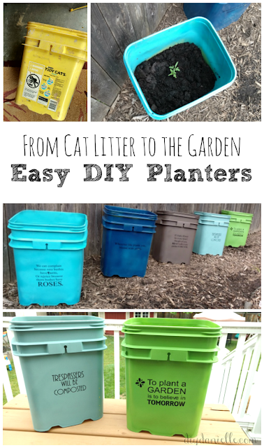 Upcycled Kitty Litter Buckets into GORGEOUS Planters!