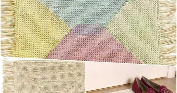 Alfombra de cuerda pintada con rejilla y crochet enrhedando - Alfombras de cuerda ...