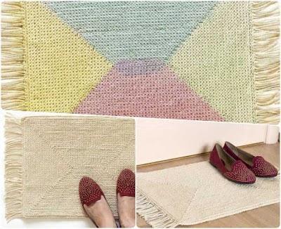 Alfombra de cuerda pintada con rejilla y crochet