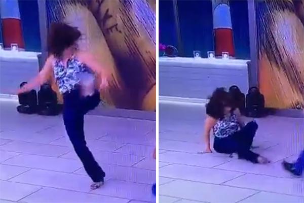 Fatima Bernardes jogando capoeíra de salto, levou um tombo foto