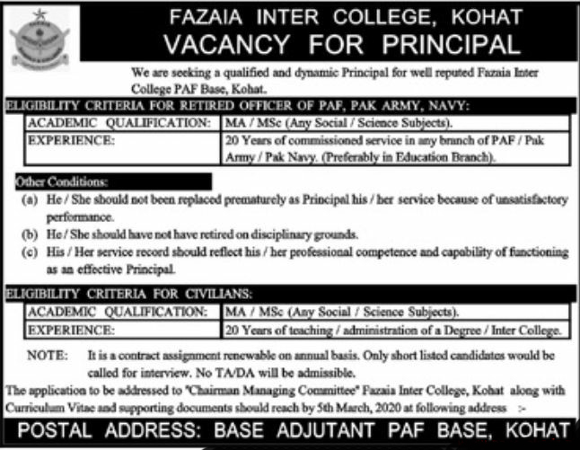 Jobs in Fazaia Inter College PAF Kohat Latest Advertisement 2020