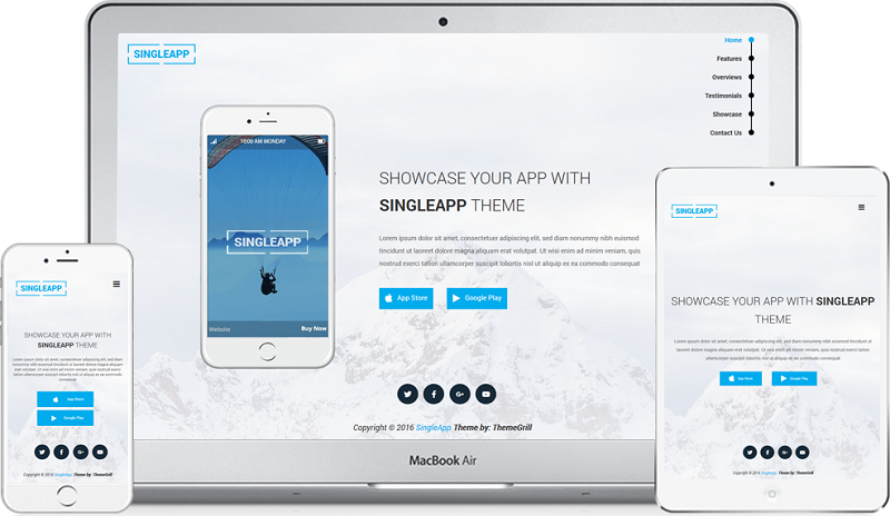 SingleApp Single Page WordPress Theme Free Download