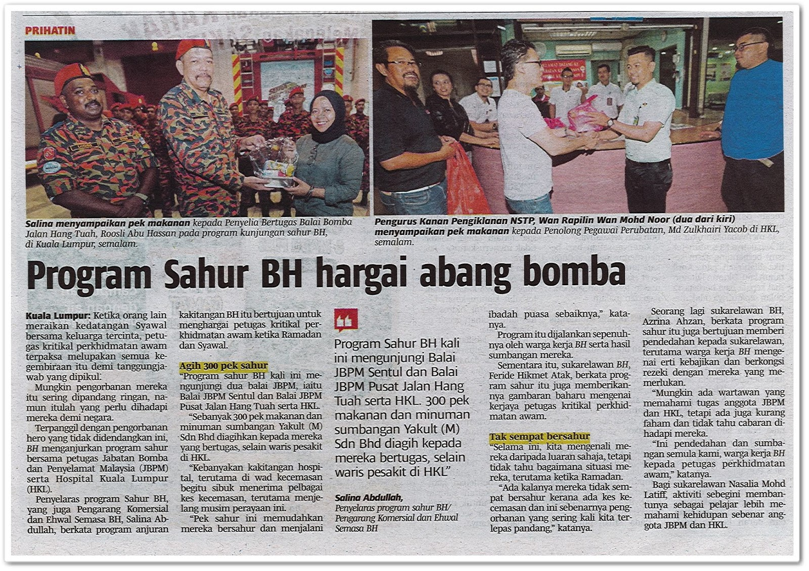 Program Sahur BH hargai abang bomba - Keratan akhbar Berita Harian 3 Jun 2019