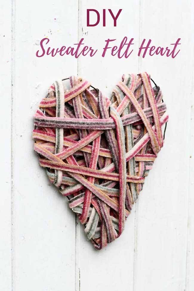 How to Recycle Sweaters into a Heart Decoration by Pillar Box Blue featured at Pieced Pastimes