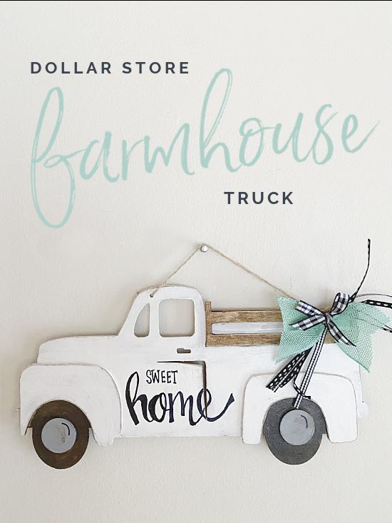 Farmhouse truck Pinterest pin with overlay