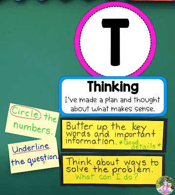 Photo of the Thinking section of a TACK Board with examples of skills and strategies.
