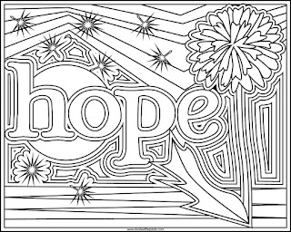Coloring page- Hope on a rainbow background with dandelion and dandelion fluff