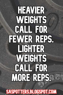 Heavier weights call for fewer reps. Lighter weights call for more reps.