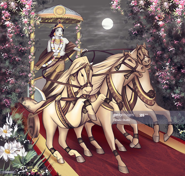 Lord Krishna riding a chariot